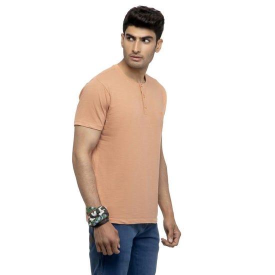 Henley T-Shirt-Peach
