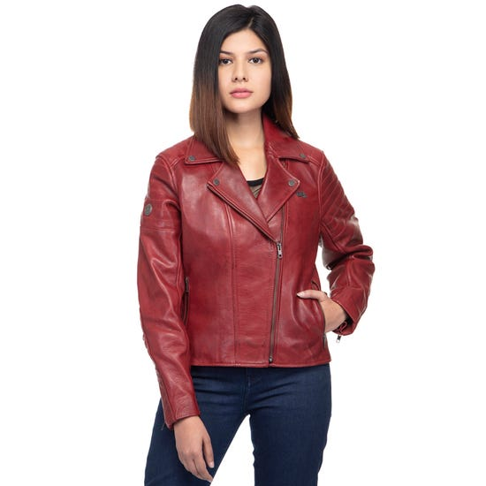 THE WILD ONE LEATHER JACKET-RED