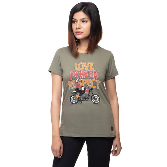 LOVE POWER RESPECT T-SHIRT-OLIVE