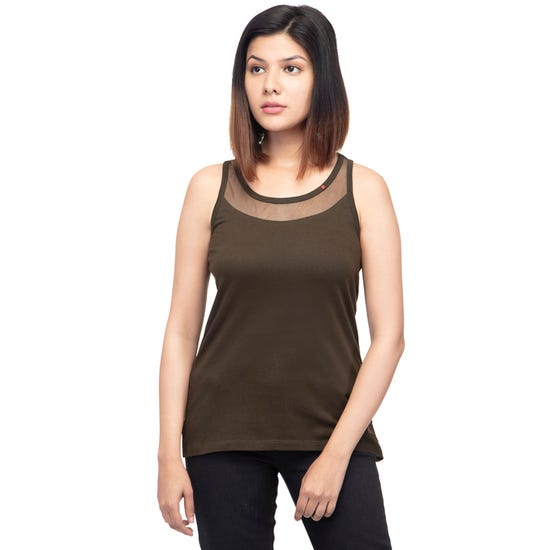 SOLID TANK TOP-OLIVE