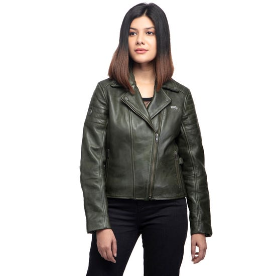 THE WILD ONE LEATHER JACKET-OLIVE