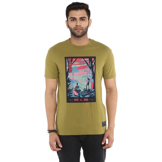 RE X LEVI'S WAVE HUNTERS T-SHIRT-OLIVE