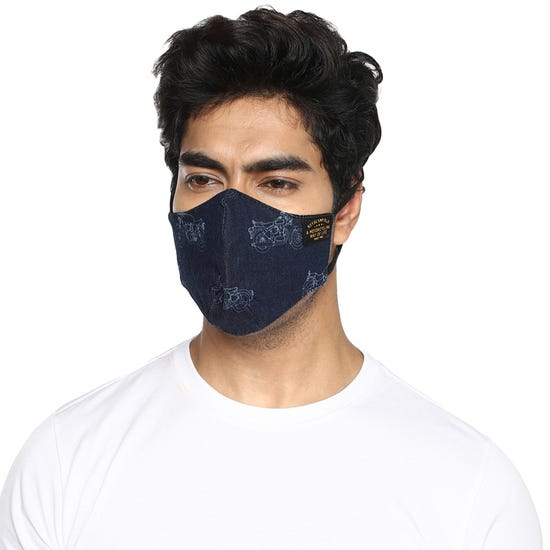 GARRISON FACE MASK CLASSIC BIKE PRINT - NAVY