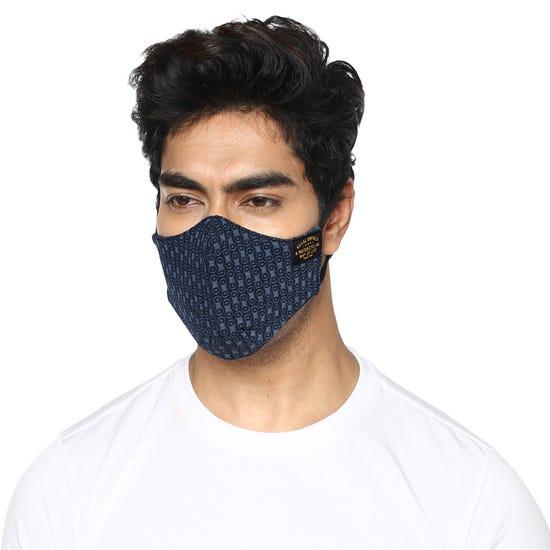Garrison Face Mask Chain Print - Navy