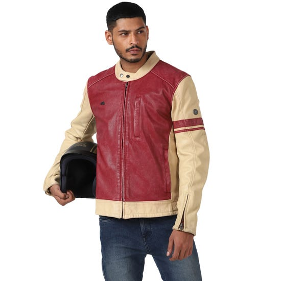 AIRBORNE JACKET-ECRU AND RED