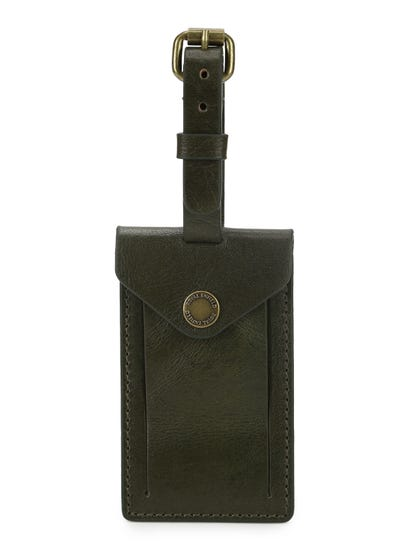 LEATHER LUGGAGE TAGS - OLIVE