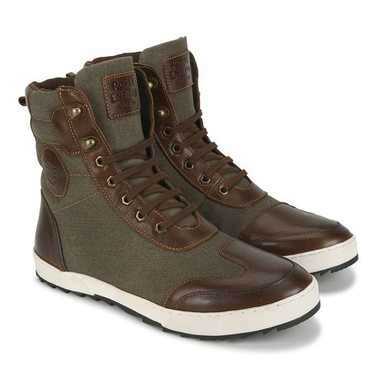 STURDY LEATHER BOOTS-BROWN & OLIVE