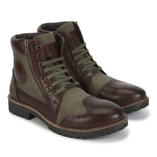 MILITARY VIBE BOOTS-OLIVE & BROWN