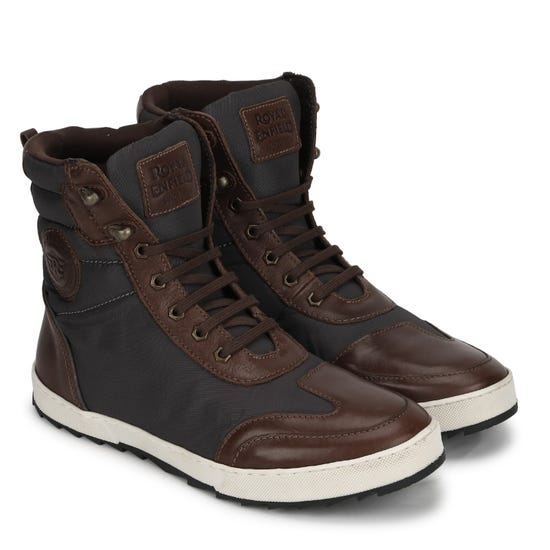 STURDY LEATHER BOOTS-BROWN & CHARCOAL