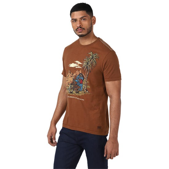 GORDON PALMTREE T-SHIRT-BROWN