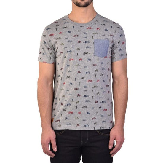 All Over Printed Motorcycles Tee Grey
