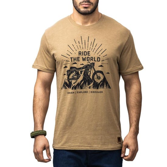 Ride The World T-Shirt - Khaki