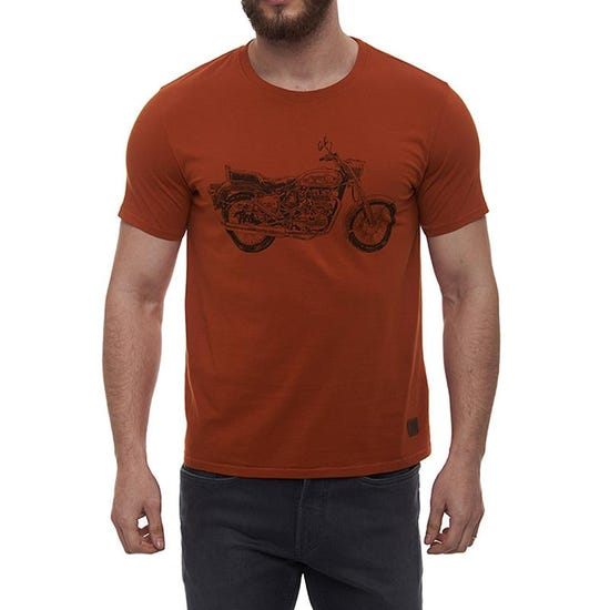 Bullet Crosshatch T-Shirt Rust Red