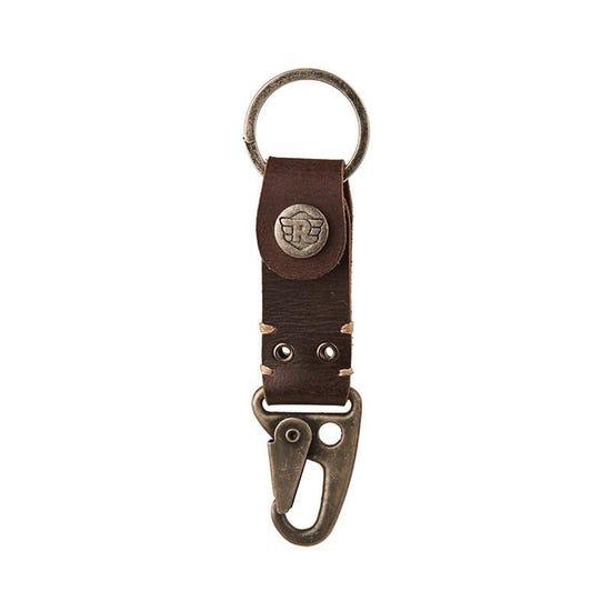 Dog Hook Leather Keychain Dark Brown