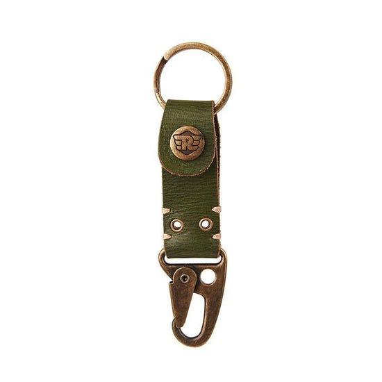 Dog Hook Leather Keychain Olive Green