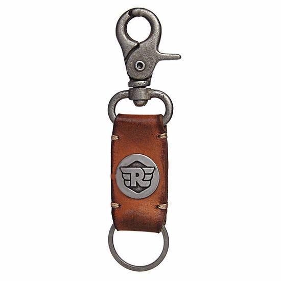 Metal Hook Leather Keychain Tan Brown