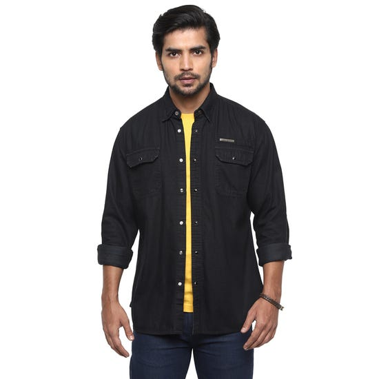 LEAVE HOME DENIM SHIRT BLACK MID WASH