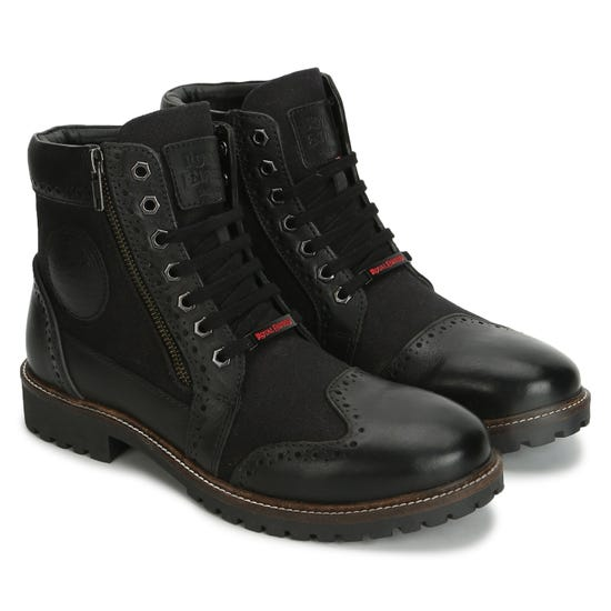 MILITARY VIBE BOOTS-BLACK & CHARCOAL