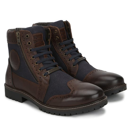 MILITARY VIBE BOOTS - BROWN & NAVY