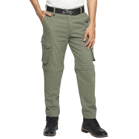 Convertible Trousers-Olive
