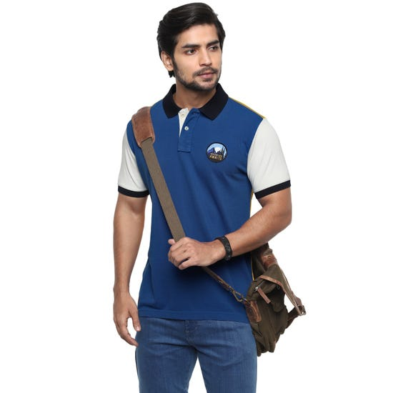 ADVENTURE POLO T-SHIRT-BLUE AND YELLOW