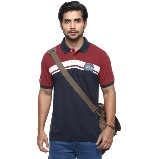 LH2 POLO T-SHIRT-CHERRY RED AND NAVY