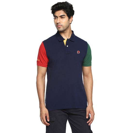 Tri Color Polo T-Shirt-Navy