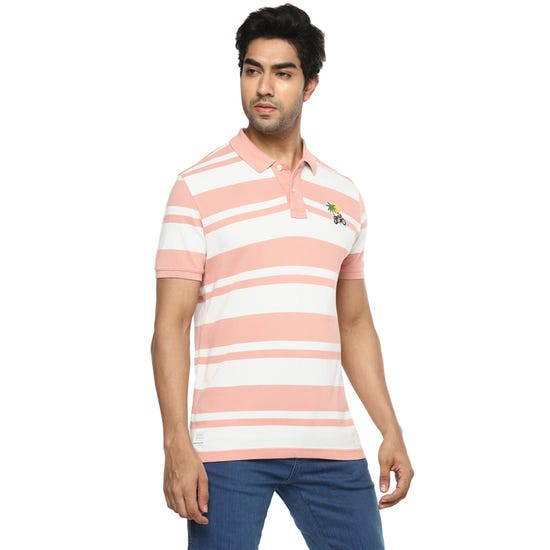 COASTAL STRIPES POLO PEACH
