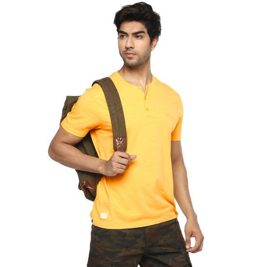 Henley T-Shirt-Mimosa Yellow